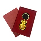 Customized gold pig metal keychain with beautifully wrapped box