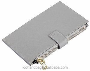 Promotional customized women wallet soft RFID Blocking bifold multi card case wallet with zipper pocket