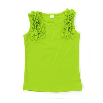 Bulk sale green sleeveless cotton children clothing toddler clothes kids shirts