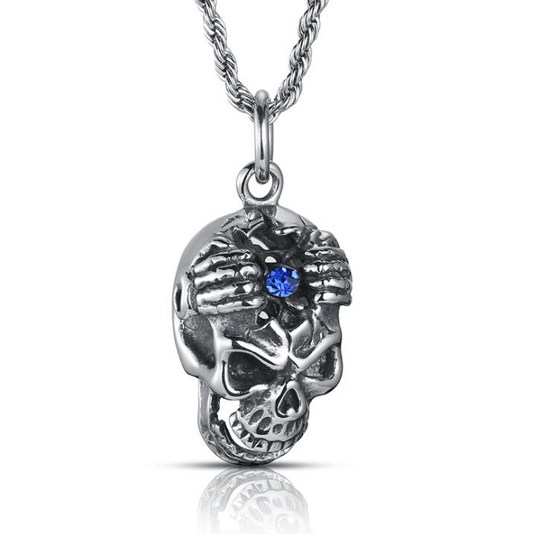 Hip Hop Biker Styke Engraved Antique Stainless Steel Sapphire Micro Pave Man Skull Pendant Alibaba