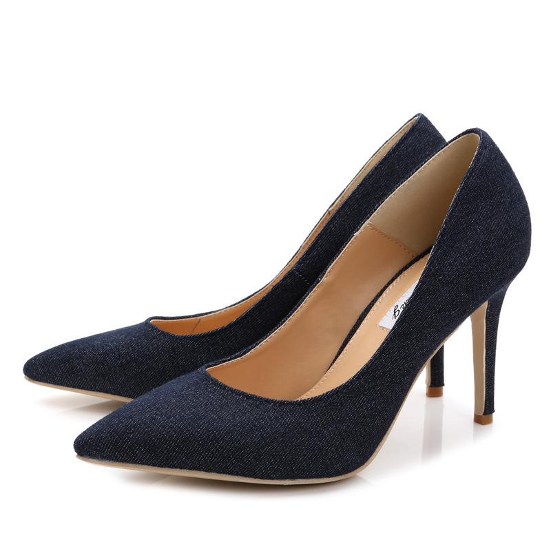 ea3b17a7bd88 Get Quotations · Size 34-40 Womens Closed Toe Sandals Slip On Ladies Shoes  Denim High Heels Pump