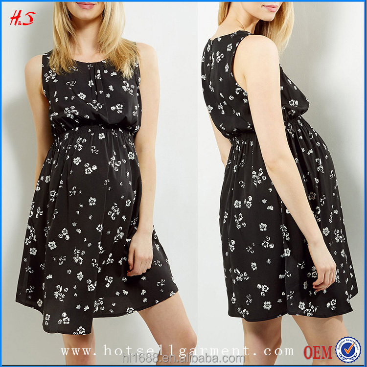 New Arrival Stylish Sleeveless Black Floral Shirred Waist Wholesale Maternity Dresses Party Dresses For Pregnant Women