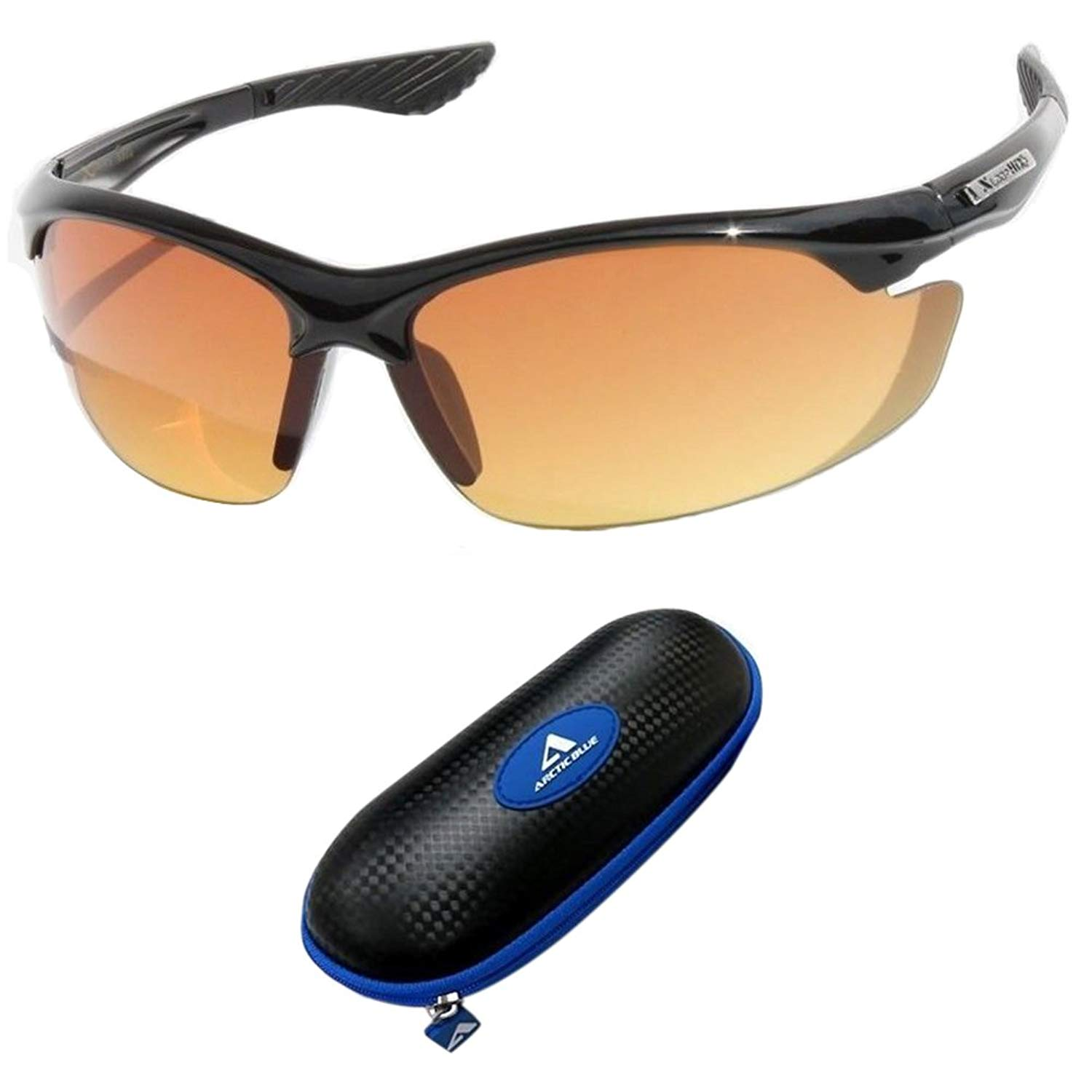 cba539558b Get Quotations · Sunglasses bifocal Black with Blue Case SPORT WRAP HD NIGHT  DRIVING VISION SUNGLASSES YELLOW HD GLASSES