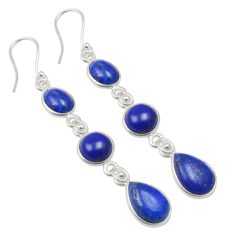 Lapis Lazuli Threader Earrings Blue Gold Earrings Natural Lapis Lazuli Earrings 925 Sterling Silver Lapis Lazuli