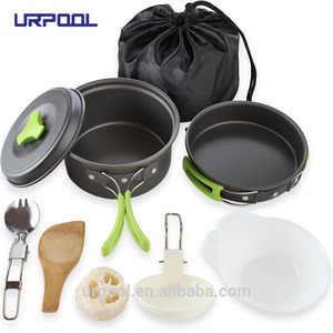 travel equipment Aluminum camp ware stainless steel camping cookware bowl pot pan set