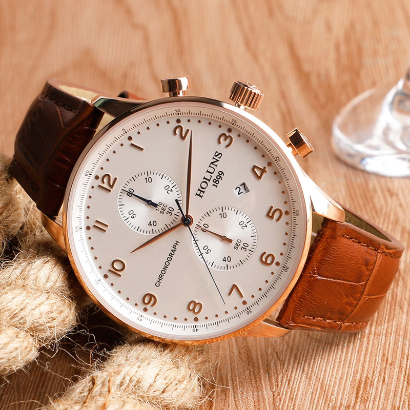 HOLUNS Original Mens Watches Luxury Brand Chronograph Men's Business Casual Leather Dress Calender Hour Clock Relogio Masculino 2017 2018 Best Gifts for Dad HIM (23)