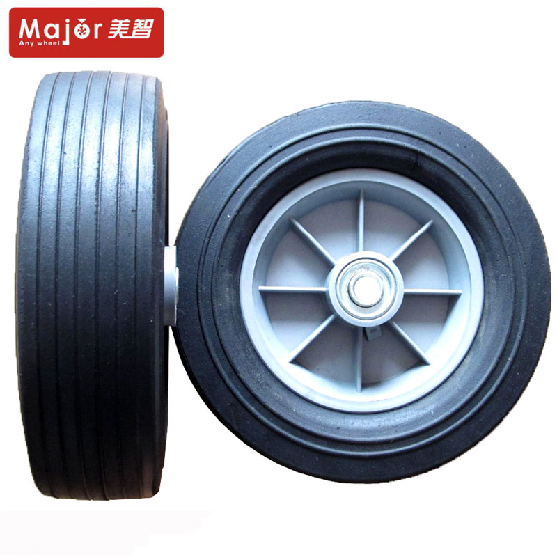 2X10 Solid PU Rubber Tyre Wheel Replacement Trolley Wheel Cart No flat