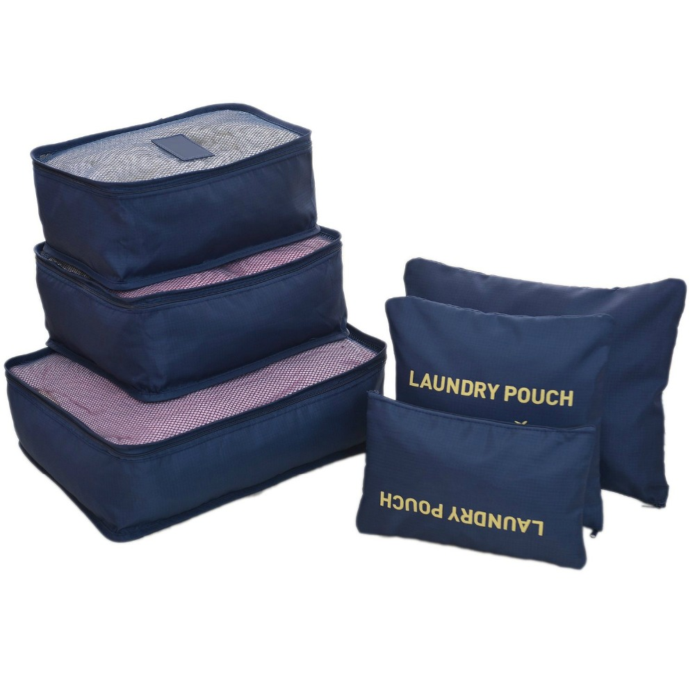 6 Sets Travel Penyelenggara Packing Cubes Laundry Tas Bagasi Kompresi Kantong