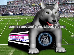 PVC new design inflatable team mascot tunnel wolf F9003