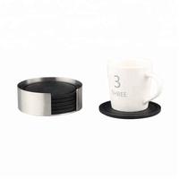 Coasters - Stainless Steel Holder with Black Silicone Coaster Set - Bar Drink Cup Holders - 6 Pack