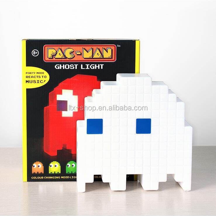 Pixel Blast Pac-Man Ghost Light, Smart Music Table Lamp, Colorful Discoloring Atmosphere Motion Lamp