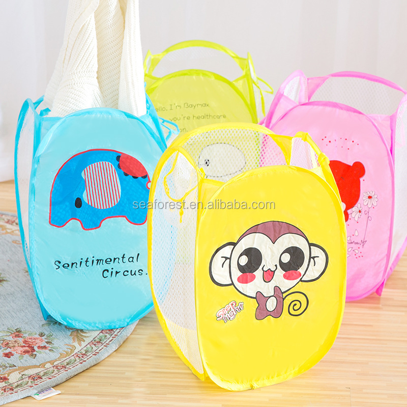 Cute Animal Printing Folding Mesh Dirty Laundry Baskets