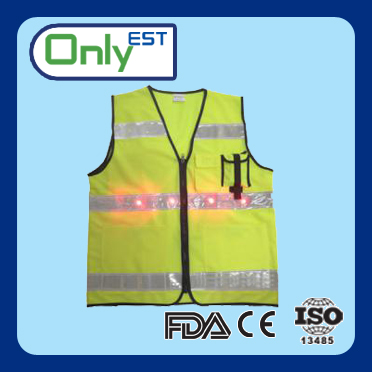 CE standard knitted fabric road warning high visibility safety vest for cycling