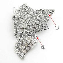 Zinc Alloy beaded butterfly brooch