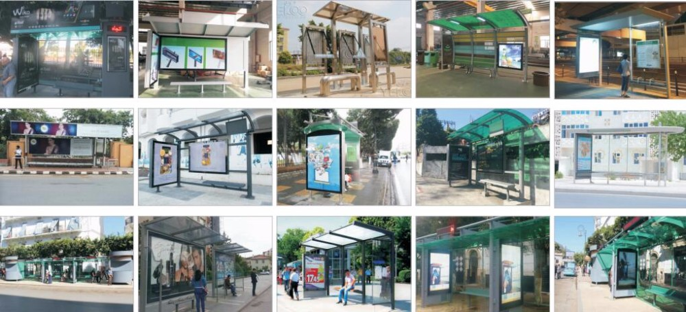 product-YEROO-2020 New Style Metal Bus Stop Shelter And Scrolling Light Box-img-1