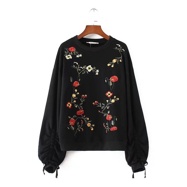 bff790995 Spring Autumn Embroidered Fashion Fleece Puff Sleeve Floral Best Hoodie  Crew Neck Pullover Ladies Sweatshirt For