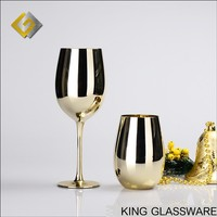 Handmade OEM silver gold plated glass Moet & Chandon Style wine goblet glass