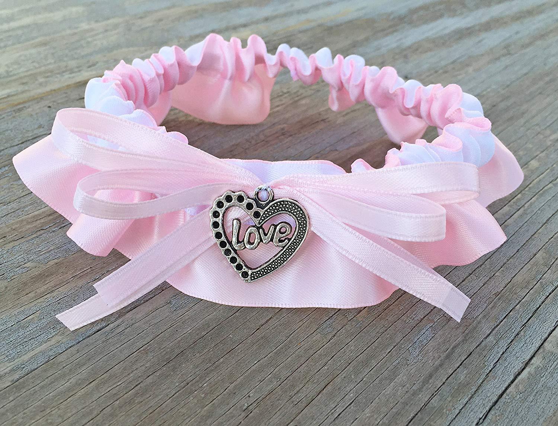 9725b1024b9 Get Quotations · Light Pink   White Satin Love Charm Embellished Wedding  Garter Heart Charm Bridal Keepsake Garter