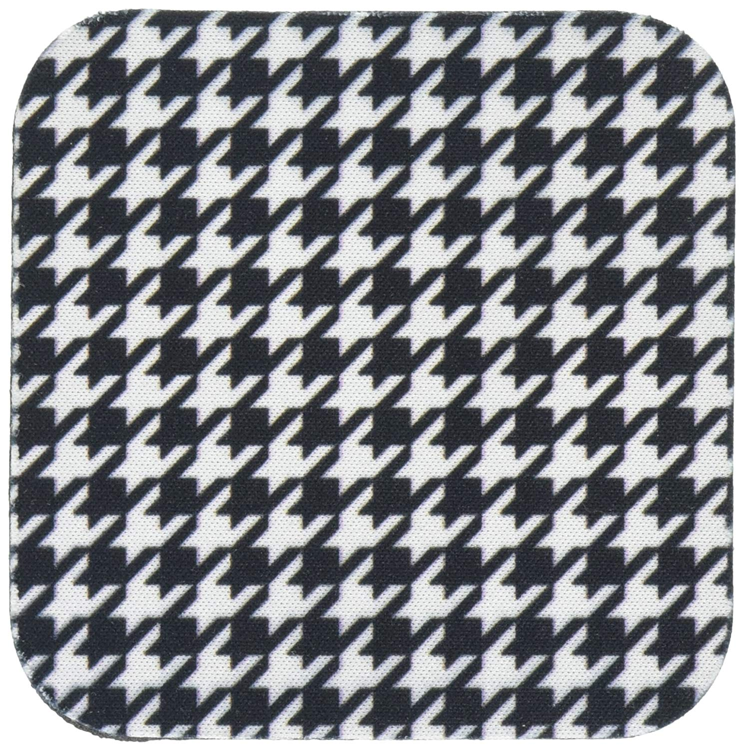 3dRose CST_113003_1 Black and White Houndstooth Pattern-Large-Preppy Trendy Stylish Classy Classic Chic Fashionable-Soft Coasters, Set of 4
