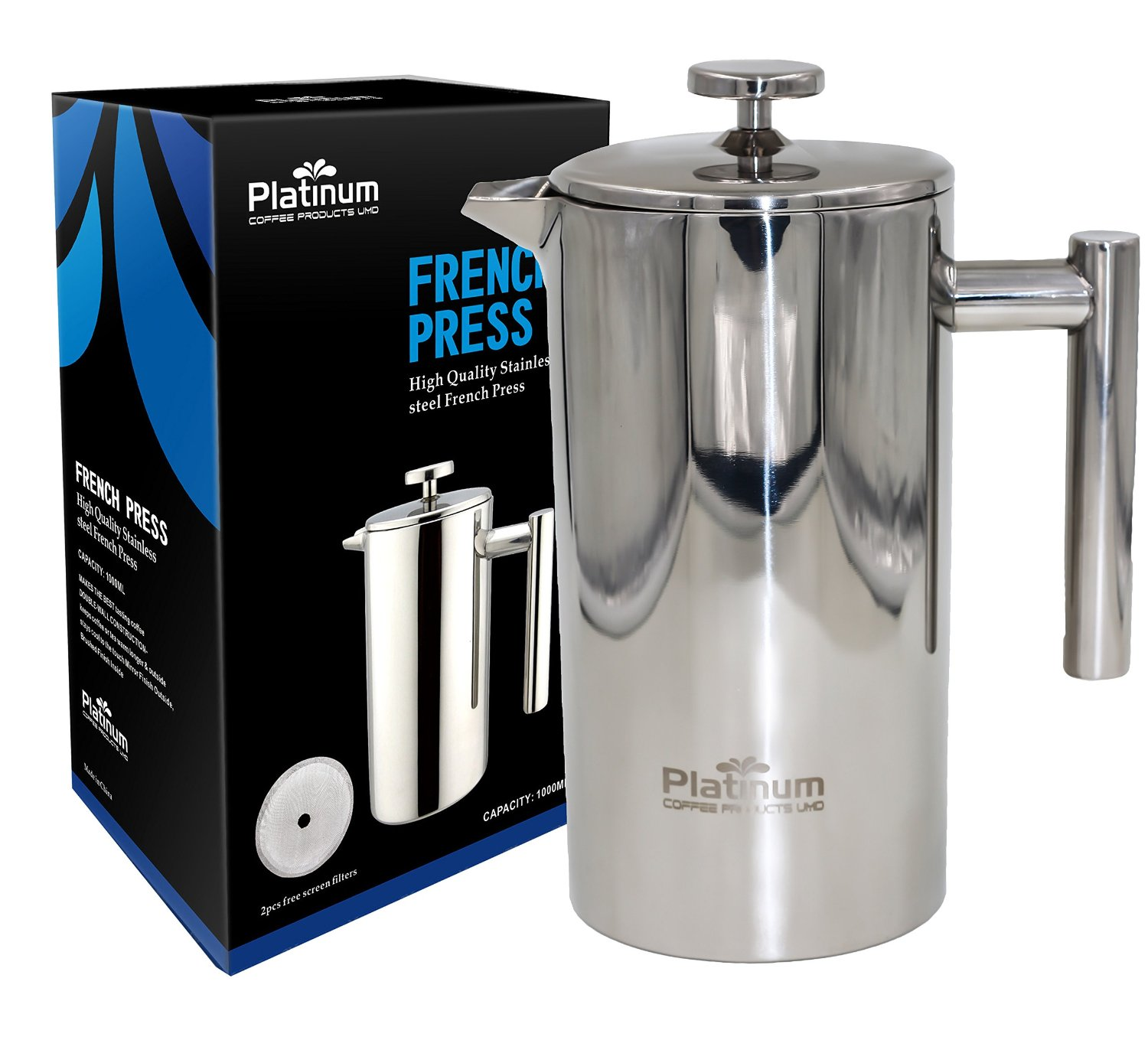 Platinum French Press Coffee Stainless Steel Double Wall 1000ml / 34OZ 1 Liter Insulated Double Wall. Makes 8 Cups or Mugs, No Plastic or Glass Coffee Tea Lovers, Fresh Brewed Best tasting #1 Coffee !