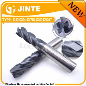 Promotion on Diameter 12mm Solid Carbide Four Flutes Flat End Mill/ End Mill for Milling Machine