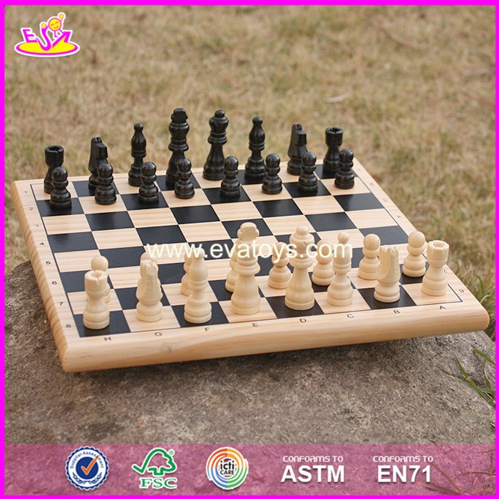 2017 New design children educational wooden international chess W11A053