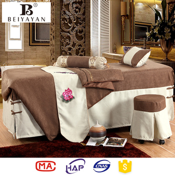 Beiyayan Massage Table Sheet Sets Khaki Floral Embroidered Spa ...