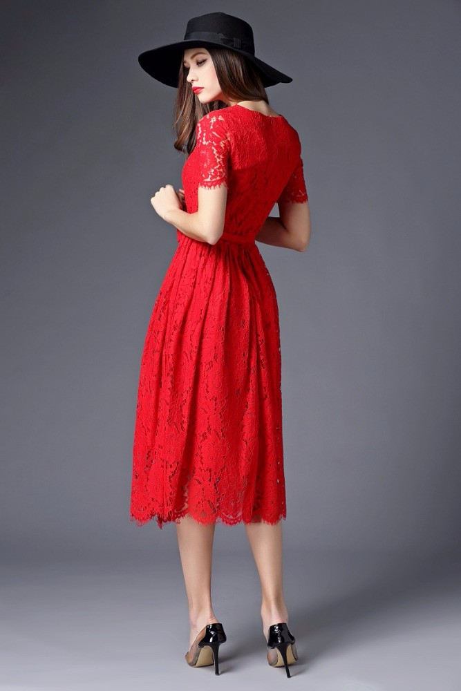 OEM Guangzhou Garment Factory Supply Fashion Red Short Sleeve Slim Long lace design Women Casual Dress Manufacture