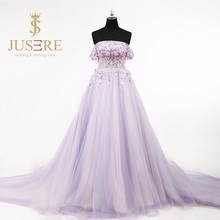 Fantastic Off Shoulder Purple A-line Prom Dress 2016 Strapless Beaded Lace Long Pregnant Evening Sexy Senior Formal Dresses