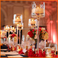 Decorated clear tall wine glass vases