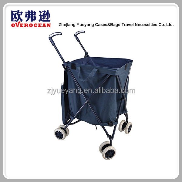 YY350 Hot sale supermarket good quality folding universal 8 wheels laundry trolley shopping cart for sale