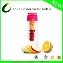 Multiple Colors Sports Infused or Infuser Water Bottle with a Fruit Infusion Rod, and Flip Top Lid