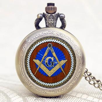 6e8b63103 Freemason Masonic Pendant Chain Bronze Quartz Pocket Watch ...