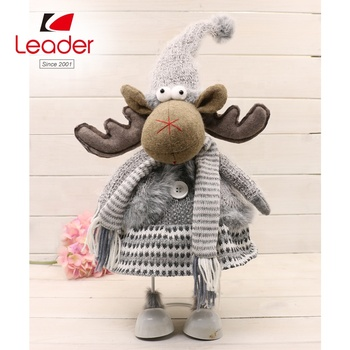 Factory Custom Christmas Toys Gray Scarf Fabric Elf for Table and Shelf Decor Christmas Elf Plush