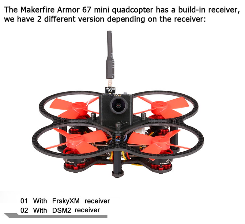 Micro Racing Quadcopter Makerfire F07 Armor 67 FPV Mini Radio Controlled RC Drone Bind and Fly with DSM2 Or FrSky Receiver