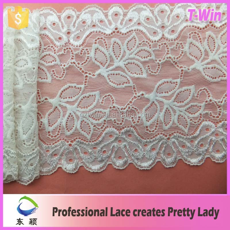 Manufacturer supply nylon spandex polyester spandex african white stretch Lingerie lace fabric for lady