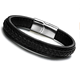 Leather Bracelet Braided Bangle for Men and Women Stainless Steel Magnetic Clasp