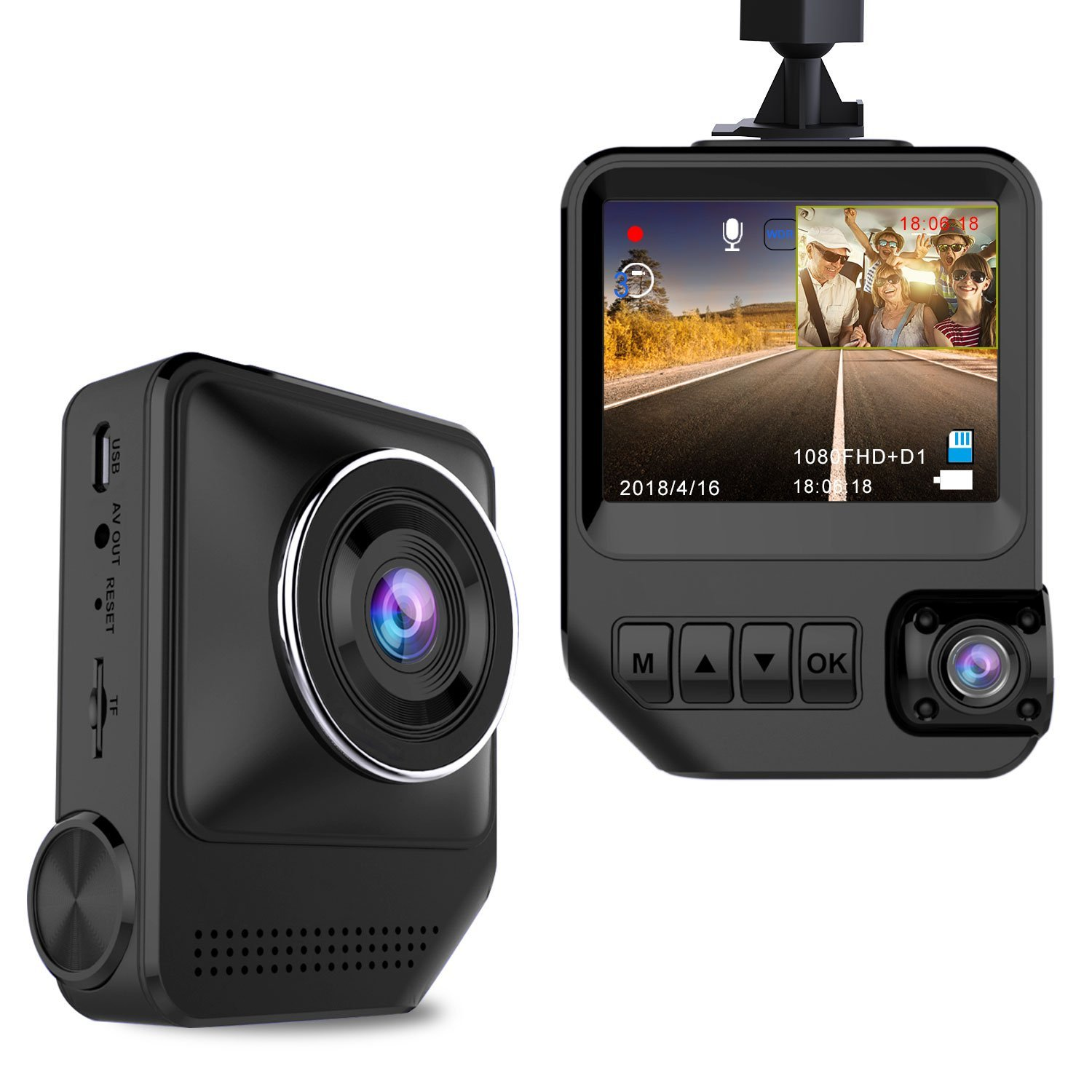 """Dash Cam Dual Cameras for Cars 1080P Front and 720P Rear Cameras Car Camera 2.3"""" LCD 170° Wide View Angle Night Vision Dashboard Camera with G-Sensor, Loop Recording, WDR, Parking Mode"""