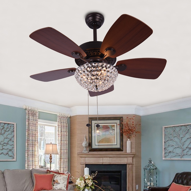 European Design Fancy Crystal Wood Blades Ceiling Fan With Light