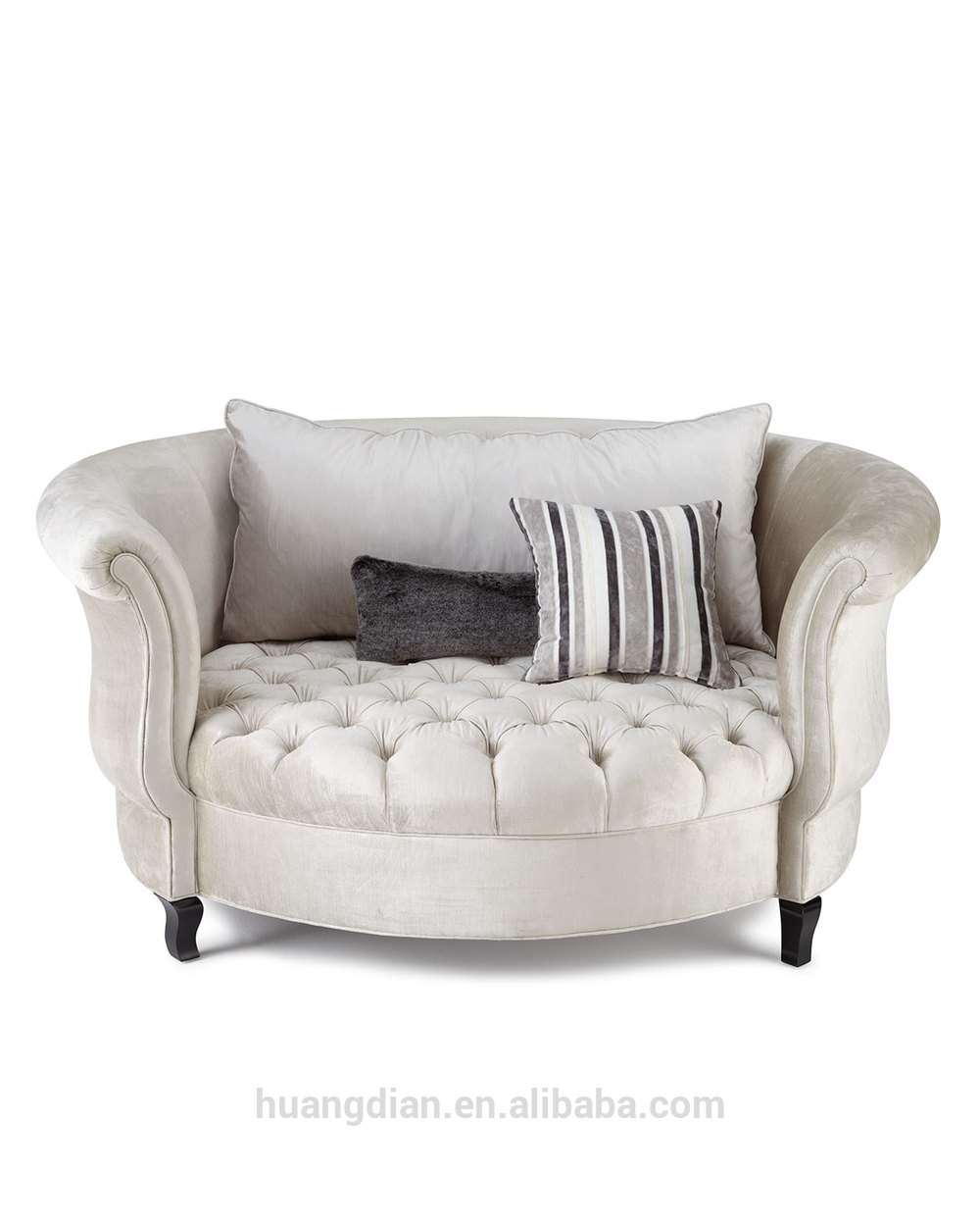 Round White Fabric Sofa Seat Living
