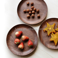 High Quality Food Safe Black Walnut Serving Tray Customerization Wooden Round Plate OEM New Design Wood Round Tray for Food FDA