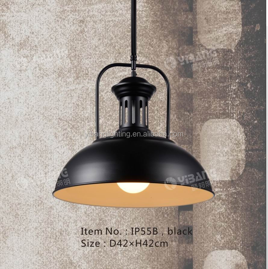 Industrial iron pendant light IP55B black/AB