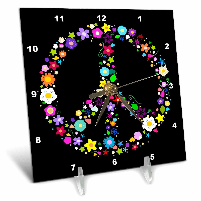 Buy 3drose Fl583151 Floral Peace Symbol Pattern Flowery Hippie Or