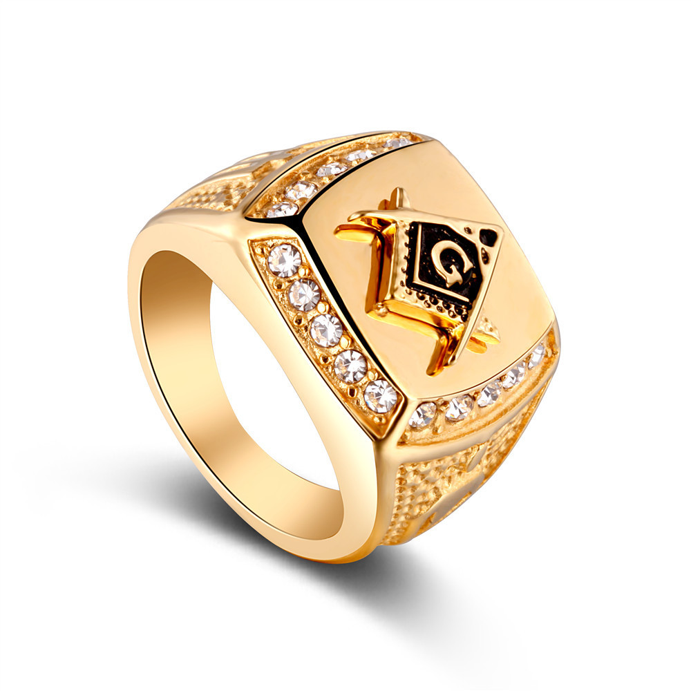 FRN115 Master Mason Ring Unique Design for Men Amethyst Gemstone golden Masonic ring