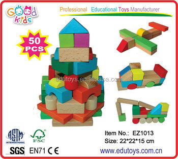 China Toy Export Bucket Packing Colorful Kids Wooden Building Blocks