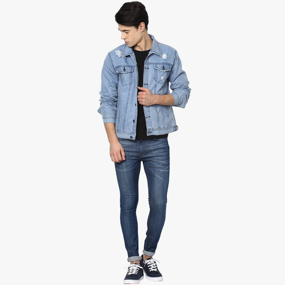 light blue plain fashion ripped denim jacket men wholesale