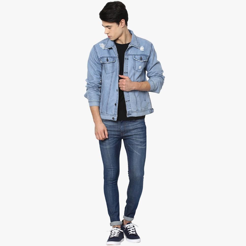 Light Blue Plain Fashion Ripped Denim Jacket Men Wholesale Buy
