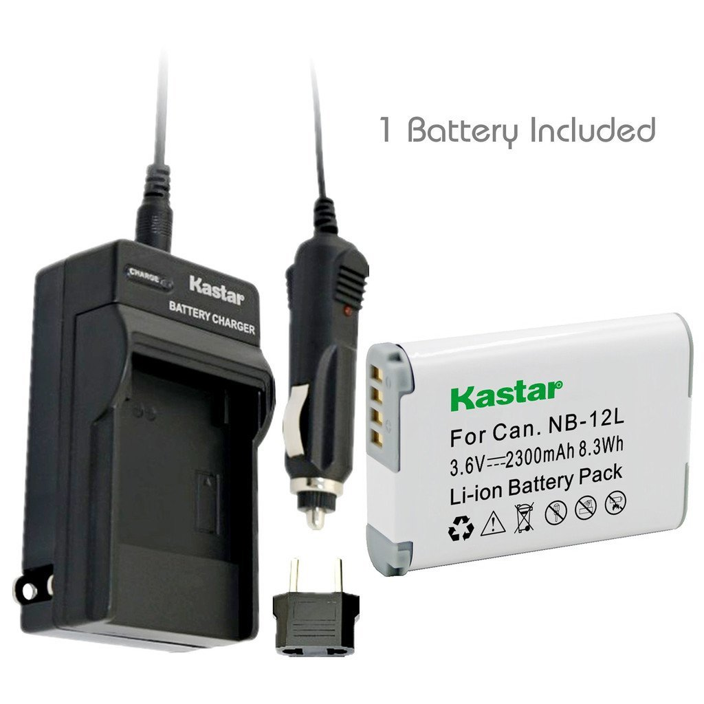 [Fully Decoded] Kastar Battery (1-Pack) and Charger Kit for Canon NB-12L work for Canon PowerShot G1 X Mark II, Canon PowerShot N100, Canon VIXIA mini X (LEGRIA mini X) Digital Cameras