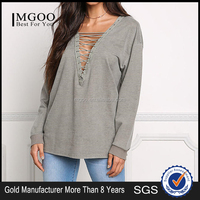 MGOO 2017 Manufacturer Custom Made Your Own Tags Clothes Grey Terry Cotton Polyester Olive brushed Terry Tunic Tops