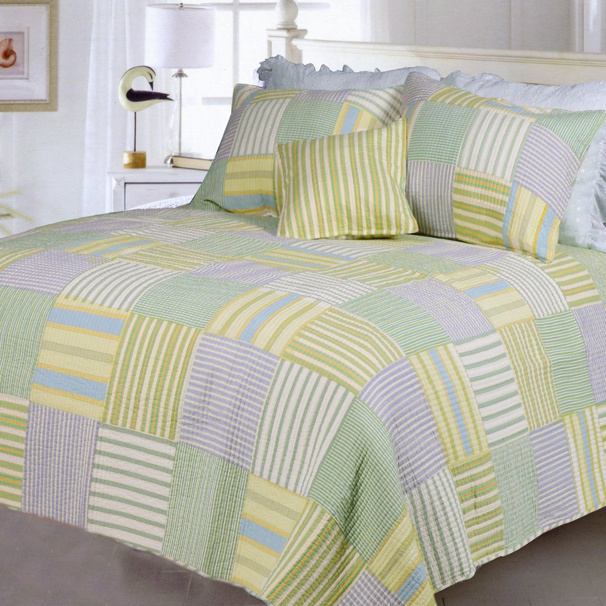 Cozy Line Home Fashions SPA Quilt Bedding Set, Green Yellow Blue Plaid Striped Patchwork 100% Cotton, Reversible Coverlet, Bedspread Gifts for Women, Men(Green Patchwork, King - 3 Piece)